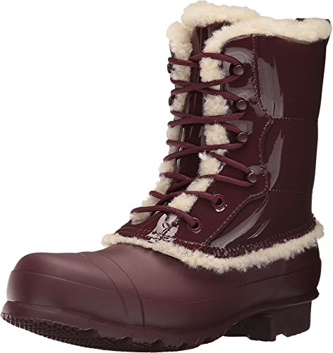 Hunter Womens Original Patent Leather Lace-Up Shearling Lined Boot