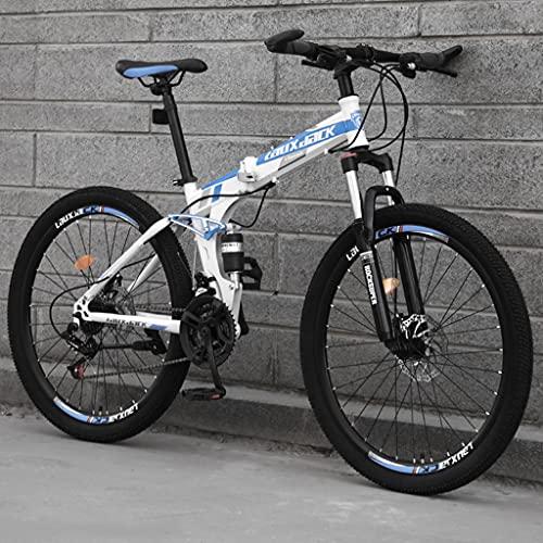 LHQ-HQ 26 pollici pieghevole Mountain Bike per adulti, 24 velocità MTB bicicletta pieghevole, doppia sospensione, telaio in acciaio ad alto tenore di carbonio, doppio freno a disco, E