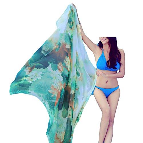 Hippolo Drucken Schal übergroßen Chiffon Schal Frauen Strand vertuschen Wrap Sarong Sonnencreme lange Cape Female,150*180cm. (Stil 9)