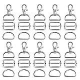 FHzytg - 90 mosquetones de 30 mm, ganchos para bolsillos, costura, anillas para bolsos, accesorios para costura, anillas en D de 25 mm, accesorios para coser mochila