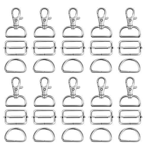 FHzytg D Ringe 30mm, 90 Stück Makramee Zubehör Leiterschnalle Karabiner für Taschen, D-Ringe 30mm Karabinerhaken Taschenzubehör Taschen Ösen Taschenkarabiner Karabiner Nähzubehör für Taschen