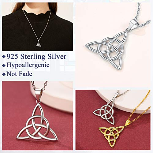 FaithHeart Silver Celtic Knot Pendant Necklace Sterling Silver Old-School Irish Jewelry for Women Men Triangle Vintage Pendant Necklaces with 20 in Cable Chain