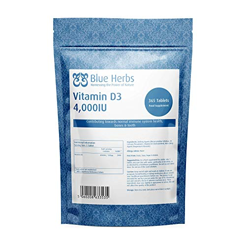 Blue Herbs Vitamin D3 4000IU | 365 Premium VIT D3 Easy-Swallow Micro Tablets | Manufactured in The UK