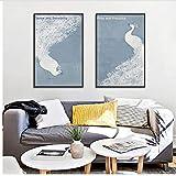 Moderne Schöne Weiße Pfau Poster Drucken Leinwand Malerei