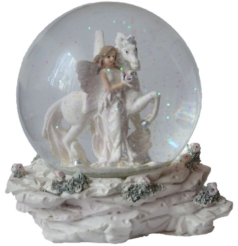 Glimmerkugel / Schneekugel mit Elfe an Einhorn stehend