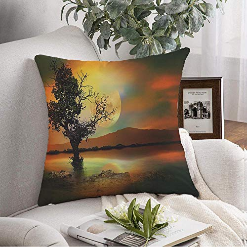 Staronov Decorative Throw Cover Pillow Case Moon Magical Beautiful Color Poster Seller Best Tree Interiors Abstract Painting in Colors Beauty Modern Throw Couch Pillow Case for Chair Car 16x16 Inch