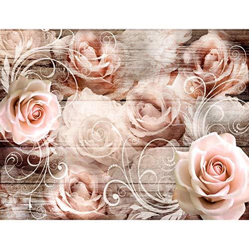 Fototapete Vintage Blumen 352 x 250 cm Vlies Tapeten Wandtapete XXL Moderne Wanddeko Wohnzimmer Schlafzimmer Büro Flur Beige 9463011a