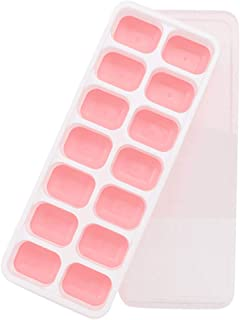 Alelife Covered Ice Tray Set With 14 Ice Cubes Molds Flexible Rubber Plastic Stackable with a Removable Lid (Pink)