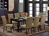 9Pc Dining Set Includes a Rectangle Dining Table with Butterfly Leaf and Eight Parson Chairs with Light Sable Fabric, Black Finish