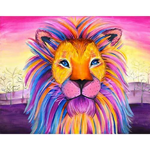 Kit de pintura de diamantes 5D DIY, kit de pinturas diamante grandes diseño de león con cristales de estrás bordado fácil punto de cruz, manualidad cristal para el hogar,30 x 40 cm