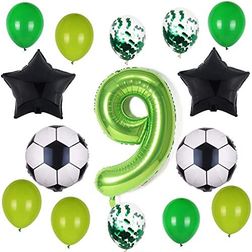 Globos de fútbol para 9º cumpleaños de 100 cm, globos con número 9, color verde, balón de fútbol negro, estrella para niños, niñas, jóvenes, 9 años, decoración de fiesta 🔥