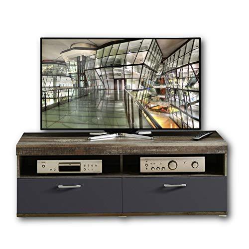 CROWN X TV-Board in Driftwood Optik, Graphit - hochwertiges Low-Board für Ihr Wohnzimmer - 140 x 50 x 48 cm (B/H/T)