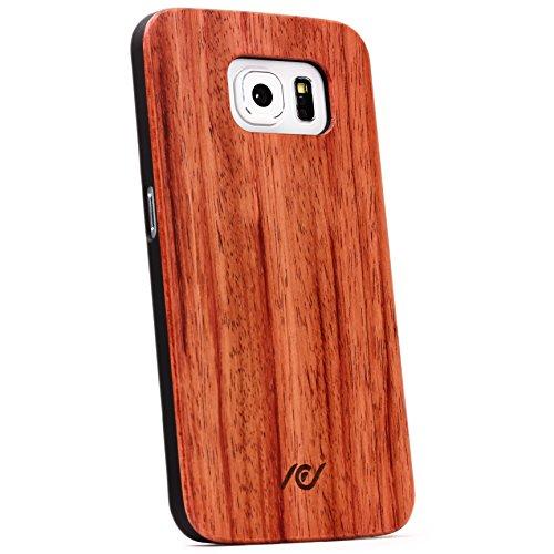Urcover® Handyhülle kompatibel mit Samsung Galaxy S6, Echtholz Schutz Hülle Backcover Backcase Case Cover Bumper Rahmen Tasche Etui echt Holz Hülle [Wow]: Rot Braun