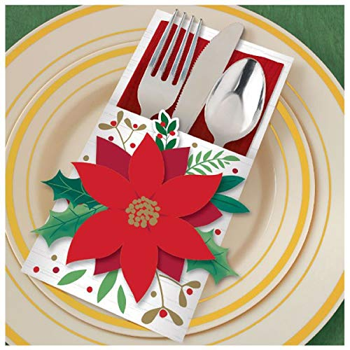 Amscan Christmas Poinsettia Cutlery Holder Deluxe Multi-Pack, 1 pack