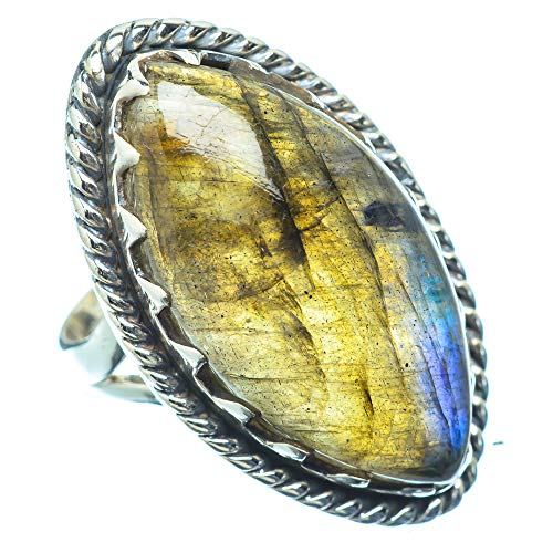 Ana Silver Co Large Labradorite Ring Size M (925 Sterling Silver)
