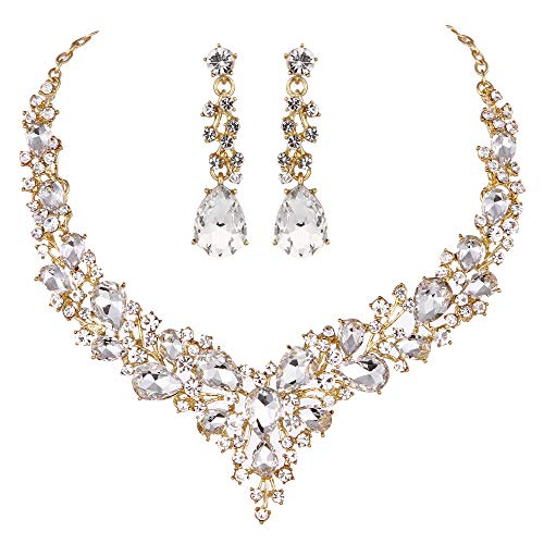 Molie Youfir Bridal Austrian Crystal Necklace and Earrings Jewelry Set Gifts fit with Wedding Dress (Clear-Gold Tone)