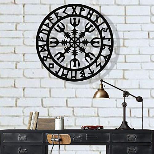 Metal Wall Art, Metal Viking Decor, Nordic Mythology Vegvisir Runes and Symbols, Metal Wall Decor, Home Decor, Interior Decoration (18' W x 18' H / 45x45 cm)