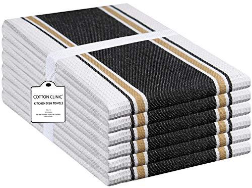 Clinique du coton Euro Café 40 x 66 cm Torchons de Cuisine Absorbant, 100% Coton Serviettes de Cuisine qualité Professionnelle, Lavable en Machine, Noir - Lot de 6