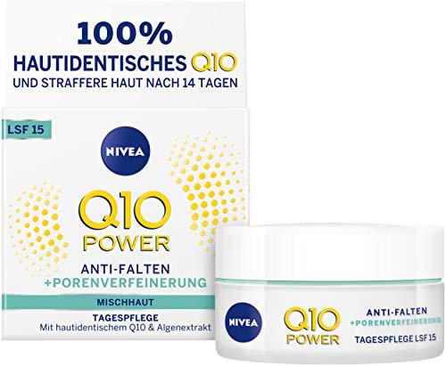 NIVEA Q10 Power Anti-Falten + Straffung porenverfeinernde Tagespflege für jünger aussehende Haut, Tagescreme mit LSF 15, 1 x 50 ml