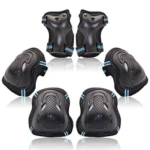 Protective Gear Set for Kids Youth Adult, Knee Pads Elbow Pads Wrist Guards 6 in 1 for Skateboard, Rollerblade, Roller Skate, Bike, Scooter, Inline Skate, Bicycle, BMX (Blue, Small)