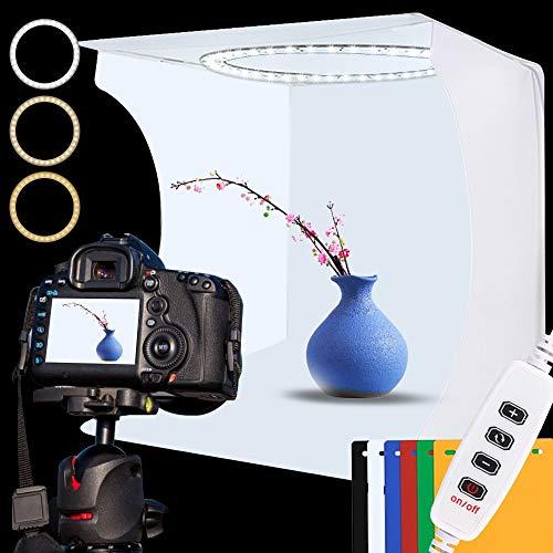 Fotobox Lichtzelt 30x30cm Tragbare Faltbare Lichtbox Fotostudio Set mit Weiße/Sanfte/Warme Licht Dimmbare 88 LED Beleuchtung,6 Fotografie hintergrund für Photo box