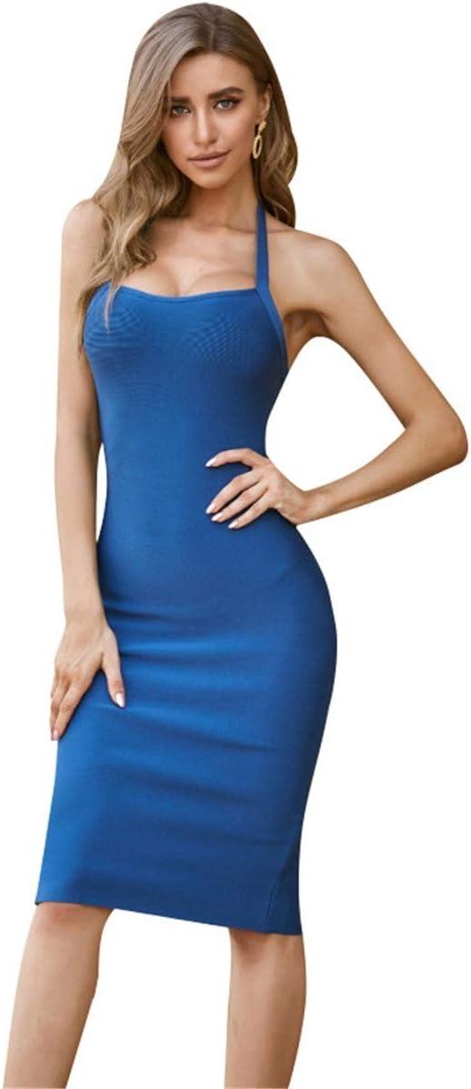 YonCog Ladies Evening Dresses Slit Tight Bag Hip Skirt Halter Knitted Dress Women's Club & Night Out Dresses (Color : Blue, Size : Medium)