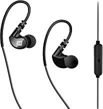 MEE audio X1 Wired In-Ear Sports Headphones with Microphone and Remote – Sweatproof Secure Fit Earphones for Running, Jogging, and Gym Workouts (Grey/Black)