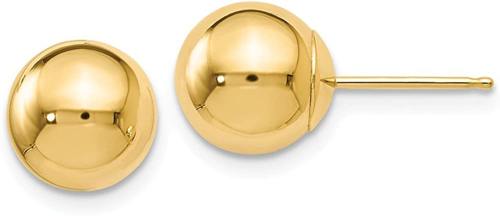 Leslie's 14K Yellow Gold Polished 8mm Ball Post Earrings