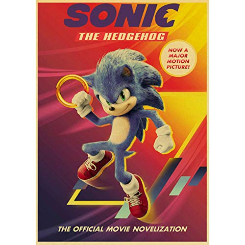 shuimanjinshan Movie Sonic the Hedgehog Retro Poster Prints Clear Image Room Bar Home Art Painting Wall Stickers 40x60cm No Frame HZ-1205