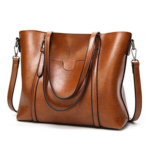 """MATERIAL: High Quality Greased Leather CLOSURE: Top Zipper Closure DIMENSIONS: 13""""L x 5.2""""W x 11.4""""H, Strap Drop Length: 9.1"""" INTERNAL:1 side zipper pockets for wallets ,1 middle zipper pockets, 2 compartments open pockets for keys/card. All stuff ca..."""