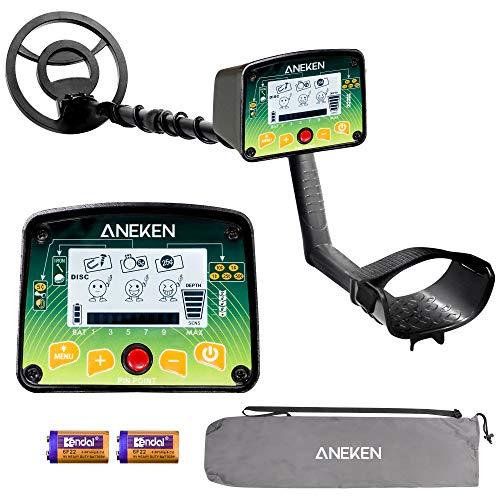 Aneken Metalldetektor, 4 Modi Hochgenauer Handlader Metallsuchgerät mit IP66 wasserdichter Spule, größerem LCD-Display, einstellbare Größe (63.5cm-104.3cm) für Erwachsene und Kinder