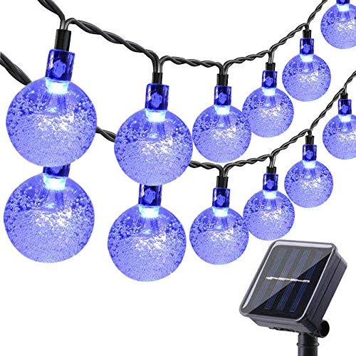 Toodour Solar Globe Christmas Lights, 35.6ft 60 LED Outdoor Christmas Lights, Waterproof 8 Modes Solar Patio Lights for Christmas, Garden, Gazebo, Yard, Patio (Blue)