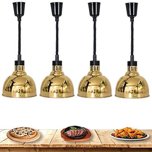 WDCC Paquete de 4 lámparas de Calor Ajustable de Metal Comercial, lámpara de conservación de Calor telescópica para Fiestas, bufés, Desayuno, Cantina, Restaurante Occidental