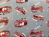 FAABRIX Feuerwehr Baumwolljersey Stoff Coupon für