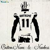fdgdfgd Joueur de Rugby Sticker Mural Personnalisé Jersey Nom et Numéro Décor Demi-Corps Joueur de Football Américain Vinyle Declas Garçons Chambre 42x61 cm
