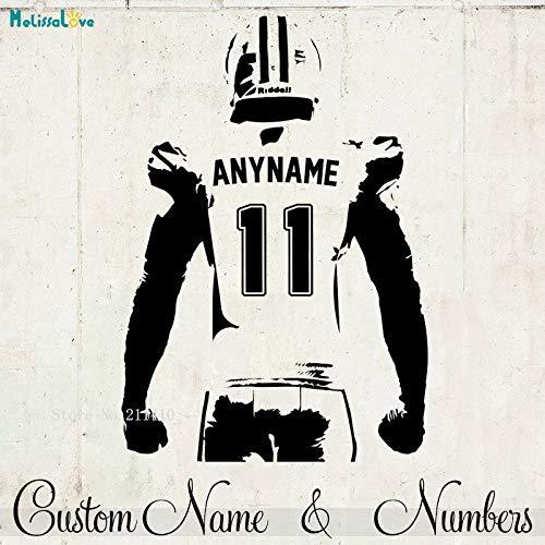 AWQR Rugby-Spieler Wandaufkleber benutzerdefinierte Jersey Name und Nummer Dekor Halbkörper American Football-Spieler Vinyl Declas Boys Room