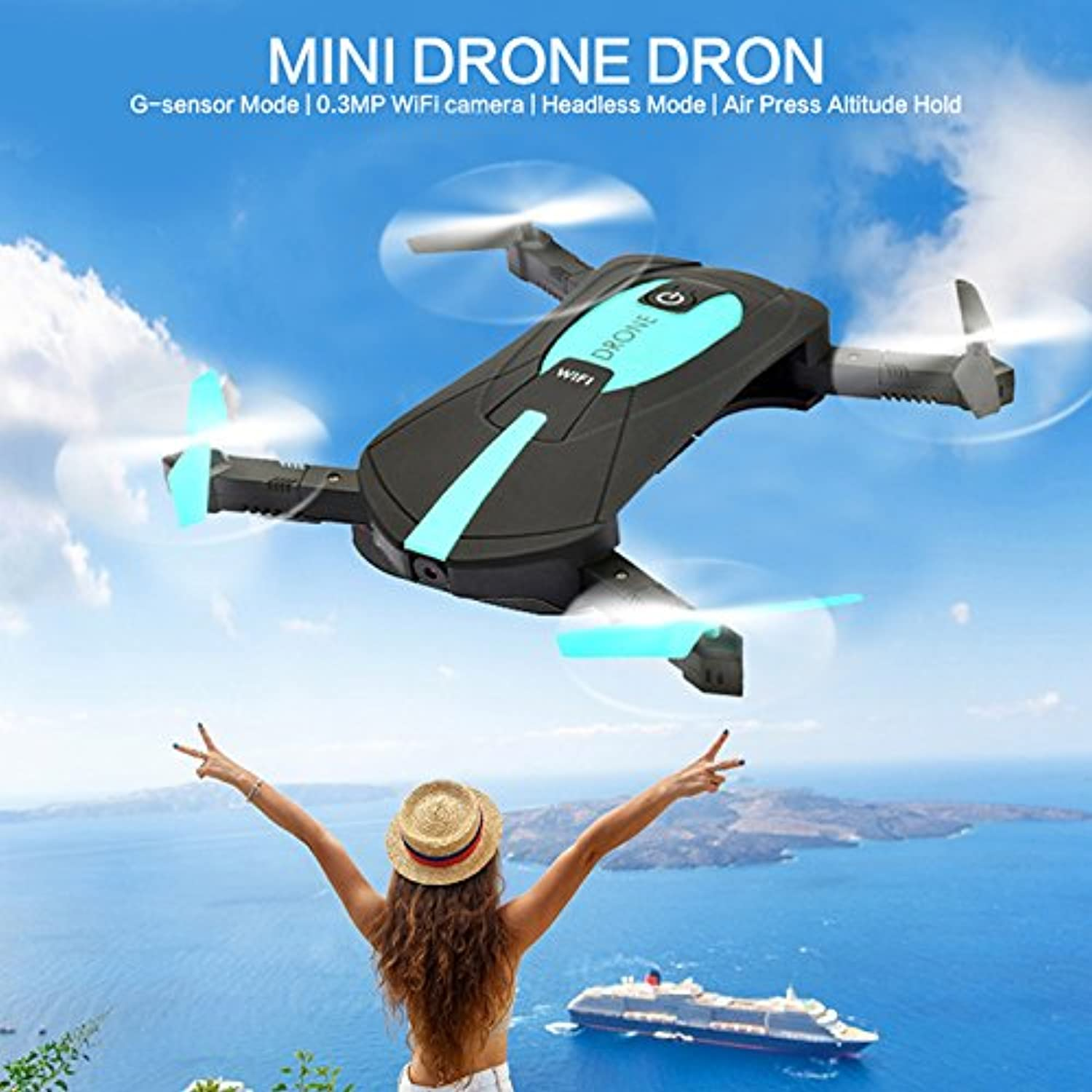 Ocamo Foldable Selfie Drone Four Axis Aircraft 720P HD Camera 2.4G Wifi RC Quadcopter Helicopter Toys black 2 million