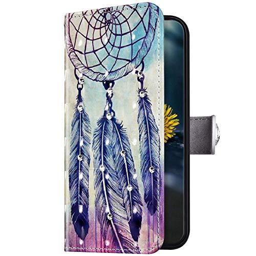 Uposao Kompatibel mit Huawei Honor 8X Hülle Diamant Strass Bling Glitzer Handyhülle Leder Wallet Schutzhülle Brieftasche Hülle Case Klapphülle Tasche Kartenfächer Magnetisch,Feder