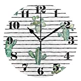 GOSMAO 25cm (9.8') Redondo Reloj de Pared Silencioso No Tick Tack Ruido Reloj de Pared Colección Cactus Vintage Rayas