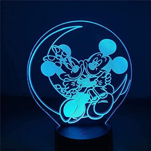 Disney Mickey y Minnie Mouse 3D luz de noche LED colorido deslizador USB táctil control remoto lámpara de escritorio decoración del dormitorio del hogar juguete de regalo especial para niños