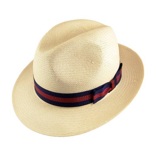 Village Hats Chapeau Fedora Panama Excellent Naturel avec Bandeau Rayé Olney - Large