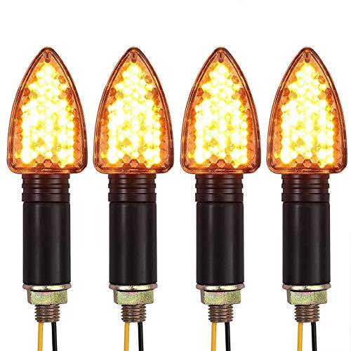 Justech Intermitentes Moto LED 4PCS Luz de Señal E-Marcado 15 LED Indicador de Señal de Giro Luz Intermitentes Ámbar Universal Impermeable para Moto Compatible