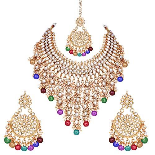 Aheli Juego de collar y pendientes de estilo étnico tradicional indio, de Bollywood Kundan y Maang Tikka para mujer