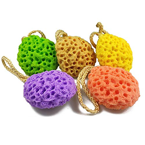 Hadristrasek Fleur de Bain Douche Eponge 5 Pcs Eau Douce Droplet Honeycomb Bath Ball Douche Baignoire éponge Rub Adultes Gel Douche Enfants Bain Brosses de Bain Fournitures
