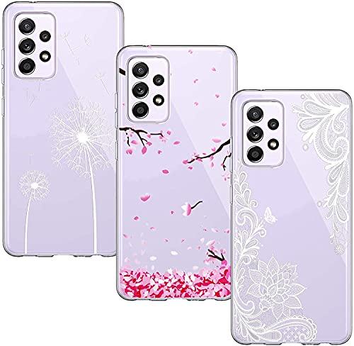 Yoowei [3-Pack] Cover Compatibile con Samsung Galaxy A32 4G 6.4  Trasparente Disegni Morbido Silicone Ultra Sottile Custodia TPU Flessibile Protettiva Caso, Fiori Bianco Fiore di Ciliegio Tarassaco