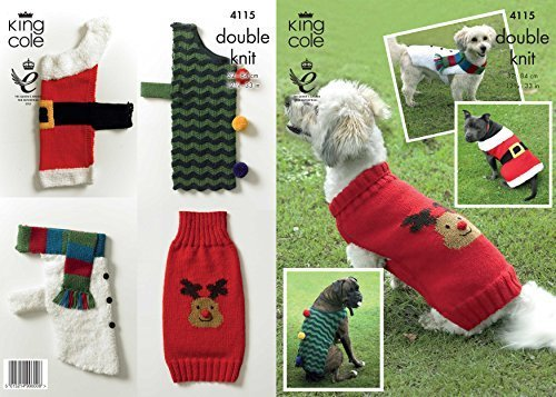 King Cole Double Knitting DK Pattern Christmas Dog Coats – Snowman Santa Rudolph Christmas Tree 4115