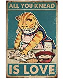 LINQWkk Cartel de metal duradero, diseño de gato con texto en inglés 'All I Knead Is Love', estilo retro, gato divertido, placa de pared para el hogar, cocina, bar, cafetería, 20 x 30 cm