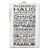 LEBENSwohnART Holz-Bild IN DIESEM Haus 40x60cm Deko-Wandbild Schild Vintage Shabby Spruch