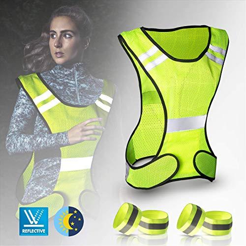 JIPRENS - Chaleco reflectante para bicicleta con cierre de velcro ajustable y 4 reflectores para correr al aire libre, correr, ciclismo, senderismo, montar en moto o correr (5 unidades)
