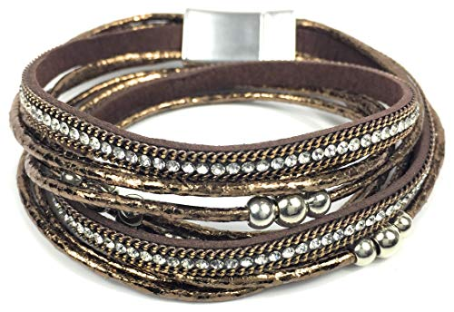 Armband Damen Wickelarmband Schmuck doppelt Magnetverschluss Perlen Nieten Kette geflochten Strass Glitzer Metallic (Bronze)